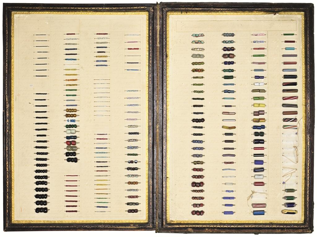 Caertella campionaria a libro di perle di vetro, XIX secolo
