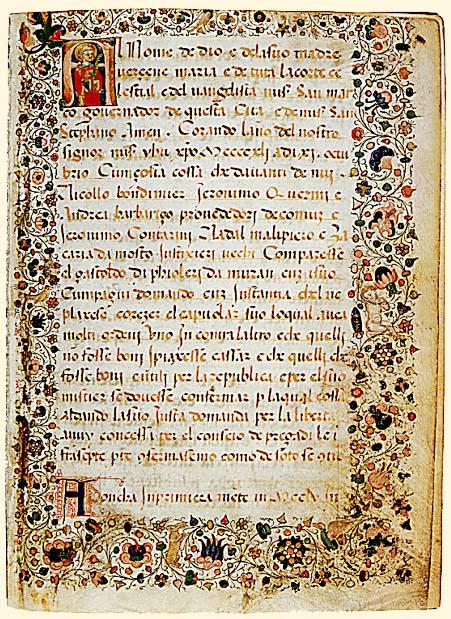"""Prima pagina della """"Mariegola dell'Arte dei verieri de Muran"""", 1441"""