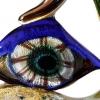 ERMANNO NASON Scultura con mano ed occhio, in cristallo con vetri policromi e foglia d'oro e d'argento nel vetro e sulla superficie, fine anni '80