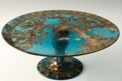 Manifattura muranese, Alzata su piede in vetro acquamare con decorazione applicata in paglia, fine XV sec.