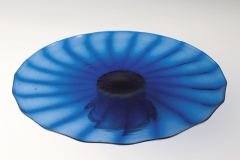 Manifattura muranese, Alzata blu a coste su alto piede, fine XV sec.